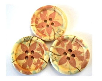 6 Wood buttons, 30mm,  flowers picture, for sewing, knitting, button jewelry, crafts