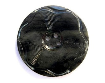 Button, antique vintage, plastic, black flower, rare, 39mm for button jewelry