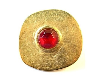 Button, metal, vintage metal button, handmade gold color with red rhinestone, free shape, 34mm, for button jewelry