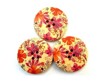 6 Wood  buttons, painted pink and orange flowers, 30mm, for button jewelry, scrapbooking, bags, crafts