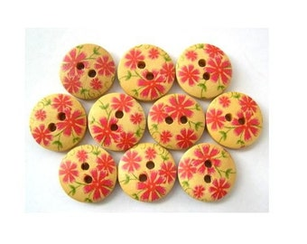 15 Buttons, wood, wooden, pink  flowers ornament, 15mm, proper for button jewelry