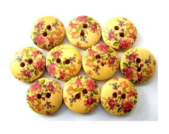 15 Buttons, wood, wooden, violet and pink flowers ornament, 15mm, proper for button jewelry
