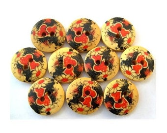 10 Buttons, wood, wooden, hearts pattern, red, black, 15mm, proper for button jewelry