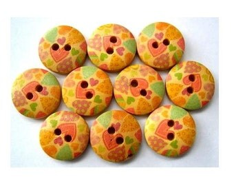15 Buttons, wood, wooden, hearts pattern, orange, green, 15mm, proper for button jewelry