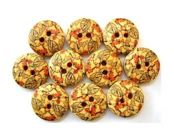 15 Buttons, wood, wooden, unique pattern, orange, 15mm, proper for button jewelry
