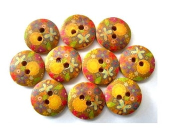 10 Buttons, wood, flowers and butterfy ornament, 15mm, proper for button jewelry