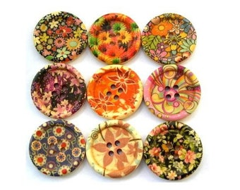 9 Wood buttons, 9 kinds, colorful, flowers, ornament, 30mm