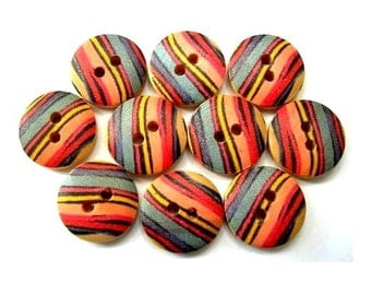 15 Buttons, wood,  strips ornament, 15mm, proper for button jewelry