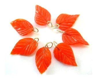 7 Vintage glass leaves dangling beads orange,23mm