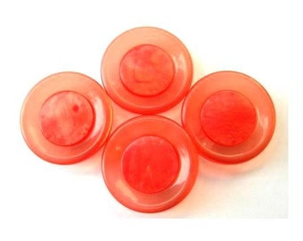 6 Vintage buttons, red circle with translucent  red circle around it, 22mm