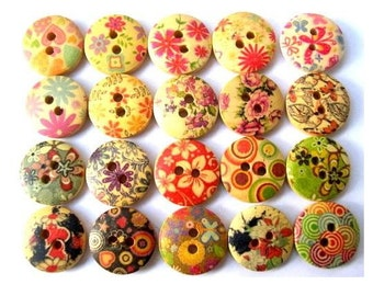120 Buttons- 20 kinds, wood, wooden, assorted pictures, 15mm, proper for button jewelry