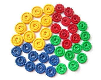 40 Antique vintage plastic buttons, 4 colors, red, green , yellow , blue