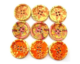 9 Wood buttons, 3 kinds, colorful flowers ornaments, 30mm