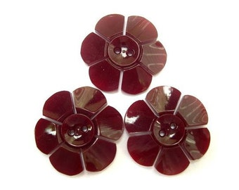 3 flowers buttons, vintage, plastic, beautiful color, 27mm, for button jewelry