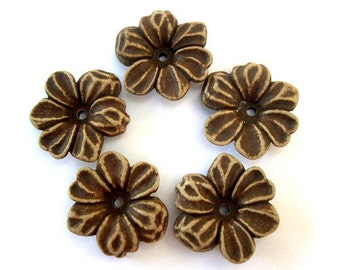 5 Flowers beads vintage 30mm brown oriental