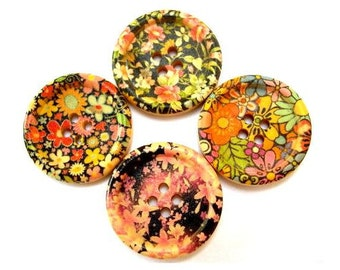 24 Wood buttons, 4 kinds, beautiful colorful flowers ornaments, 30mm