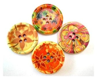 20 Wood buttons, 4 kinds, beautiful flowers ornaments, 30mm
