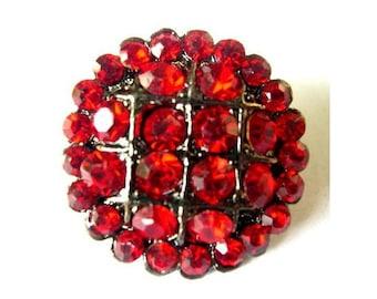 Button, rhinestone red flower shape metal button, button jewelry, 25mm