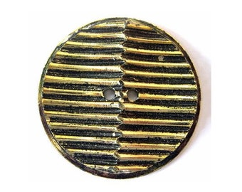 Vintage, 2 plastic buttons, karge, black with gold color strips, 45mm
