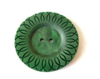 Vintage button, plastic, flower shape, green, large 44mm