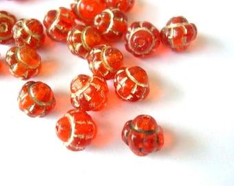 20 Vintage glass beads, trancsucent orange with gold color trim