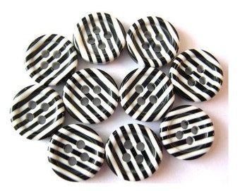 10 buttons, new, black white strips, 12mm, suitable for button jewelry