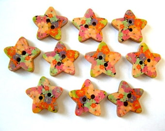 10 Buttons, stars, wood, colorful ornaments, for button jewelry, scrapbooking, crafts
