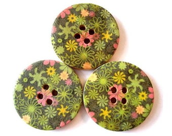 6 Buttons, wood buttons, 30mm, flowers in pink and green for sewing, scrapbppking, jewelry, crafts