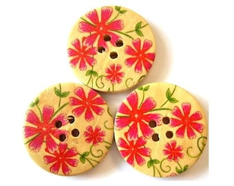 6 Buttons, wood buttons, 30mm, flowers in pink to red  for sewing, scrapbppking, jewelry, crafts