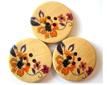 6 Buttons, wood  buttons,  flowers picture, 30mm, for button jewelry, scrapbooking, bags, crafts
