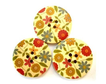6 Wood buttons, 30mm, colorful flowers ornament, red, grey 30mm, for scrapbppking, jewelry, crafts