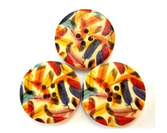 6 Buttons, wood, 30mm, colorful feathers, for crafts, button jewelry