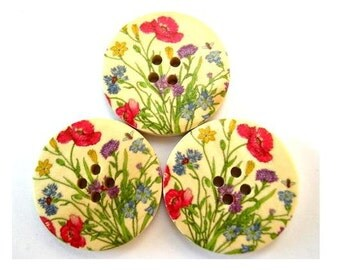 6 Buttons, wood buttons, 30mm, flowers in red and more beautiful colors, for scrapbppking, jewelry, crafts