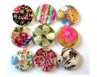 90 Shell buttons colorful floral and strips ornament design 11.5mm