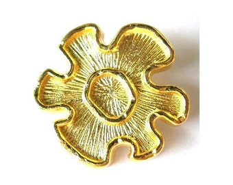 2 Buttons,  vintage flower button gold colors for jewelry, 29mm