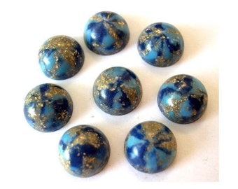 10 Vintage cabochon, lucite plastic, blue with gold color glitters,  13mm, 6mm height