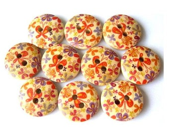 10 Wood buttons beautiful ornament in red and blue,15mm