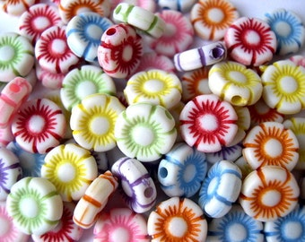 70 Beads, flowers,  set of 7 colors, 10mm, might be vintage
