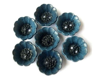 Vintage, 7 plastic buttons, can be use as beads, 15mm,  flower cup shape, blue with black