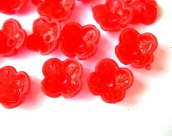 30 Beads, red flowers, vintage, cup shape, lucite, translucent, rare, 9mmx4mm