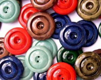 36 Vintage buttons, 6 colors, plastic buttons, 20mm