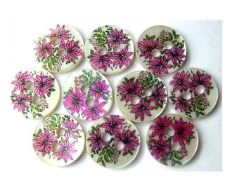 10 Shell buttons flowers printed picture for sewing, button jewelry, children 11.5mm