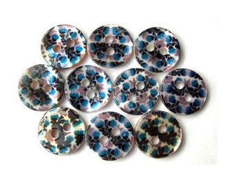 10 Shell buttons flowers printed picture blue black for sewing, button jewelry,  11.5mm