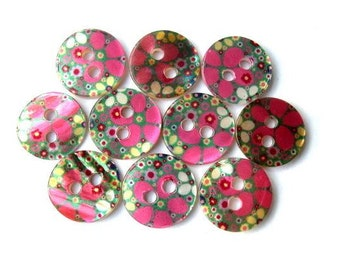 10 Shell buttons, flowers ornament in red pink, printed, for sewing, button jewelry, crafts 11.5mm