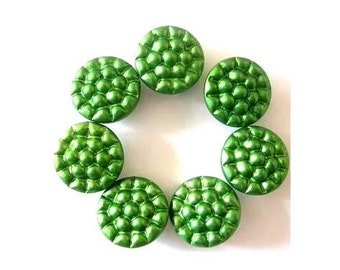 10 Antique vintage green metal buttons, for buttons jewelry, sewing, knitting, 13mm