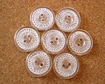 6 glass buttons, antique vintage can be use as a bead, dots pattern, transparent, 18mm