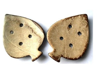 2 Buttons, leaf shape coconut shell buttons,for button jewelry, bags, crafts, large