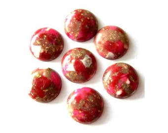 10 Vintage cabochon, lucite plastic, marbled red and white with gold color glitters, 12mm, 3mm height