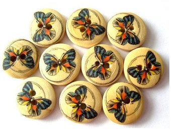 15 Buttons, butterfly picture wood buttons 15mm