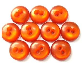 10 Vintage buttons lucite plastic orange 15mm, 5mm thick